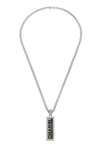 CHANEL Silver & Crystal Name Tag Necklace (Pre-Owned)