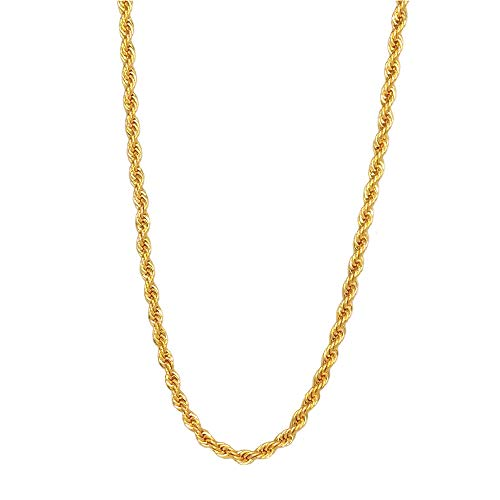 TUOKAY 18K Gold 4mm Thin Rope Chain for Woman and Man, Sparkling Small Gold Rope Necklace for Pendant, 4mm, 24