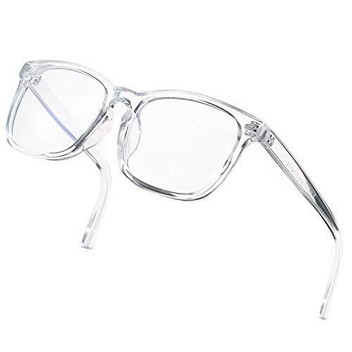 DeBuff Blue Light Blocking Glasses Women Men Clear Lens Square Frame Computer Eyeglasses (Clear)