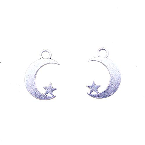 (Youkwer 100Pcs 17mm x19mm Moon with Little Star Charms Beads Pendants Jewelry Making Findings Accessories for DIY Crafting,Bracelet and Necklace Making (Moon with Little Star,Antique Silver))