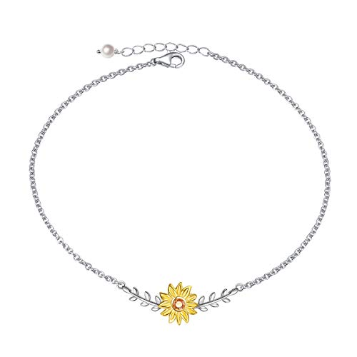 - Sterling Silver Anklet Sunflower with CZ Warmth Sunshine Jewelry Foot Ankle Bracelet Adjustable Chain for Women Girls 9+1.5