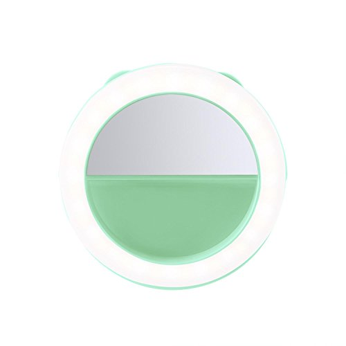 Selfie Ring Light OXOQO 40 LED Rechargeable Circle Lights with Mirror for Smart Phone IPhone Android Tablets Laptops Camera Round Shape (Green)