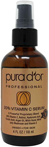 Serum Oil Treatment (PURA D'OR (4oz) 20% Vitamin C Serum for Face and Eye with Hyaluronic Acid, Vitamin E and Argan Oil, Treatment for Dark Spots, Acne, and Wrinkles, Men & Women (Packaging may vary))