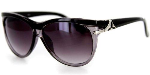 Havana Designer Sunglasses with Large Lenses and Rounded Wayfarer Shape for Youthful, Stylish Women (Black w/ - Cheap Hipster Sunglasses