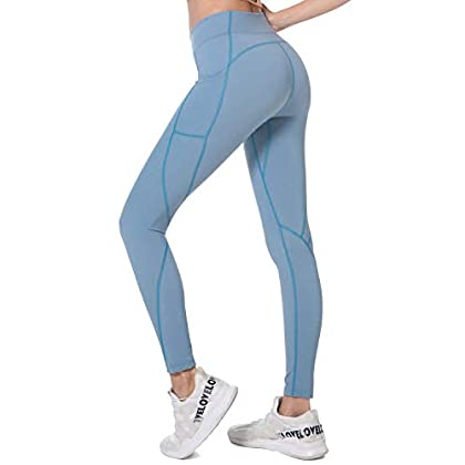 Holure High Waist Yoga Pants with Pockets, Tummy Control, Workout Pants for Women 4 Way Stretch Yoga Leggings 31JRE6mEu6L