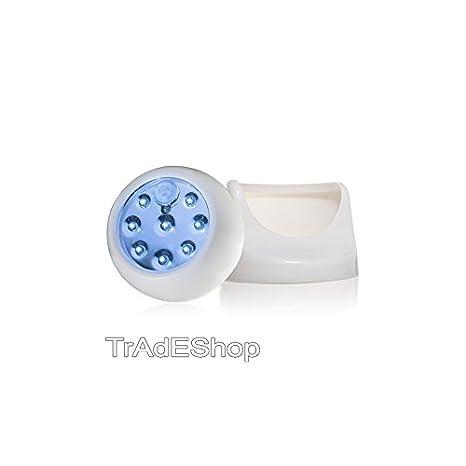 tradeshoptraesio® – Faro Foco Lámpara 8 LED con sensor de movimiento luz blanca 360 grados
