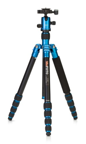 MeFOTO RoadTrip Classic Lightweight 61.6 Aluminum Travel Tripod/Monopod w/Case, Twist Locks, Triple Action Ballhead w/Arca Swiss Plate for Mirrorless/DSLR Sony Nikon Canon Fuji - Blue (A1350Q1B)