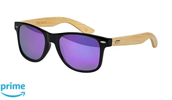 035dd4c184 Alta Calidad Madera Bambú Gafas de Sol de Nerd Retro Vintage Unisex Gafas  con Bisagra de Muelle - 9 Varios Colores/Modelos a Elegir - Bambú - Púrpura  ...
