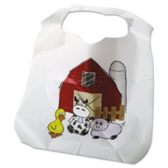 (3 Pack Value Bundle) ATL2BBCZF Disposable Child-Size Poly Bibs, Zoo/Farm Pattern -