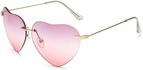 Dollger Heart Sunglasses Thin Metal Frame Lovely Aviator Style for Women