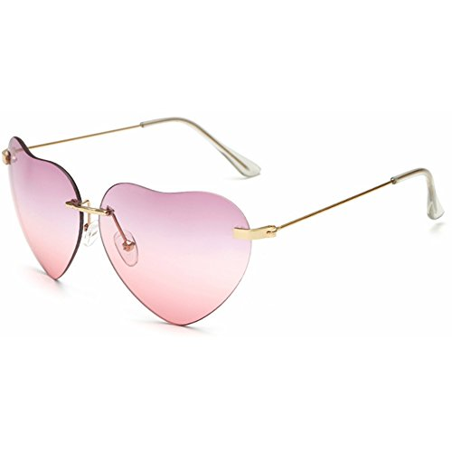 Dollger Pink Heart Sunglasses Women Rimless Sunglasses Thin Metal Frame Aviator - Heart Shaped Pink Sunglasses