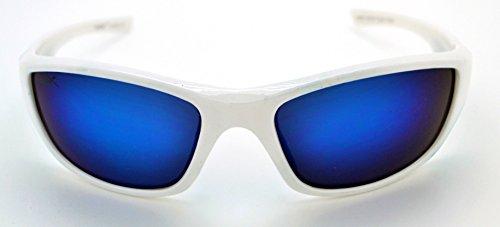 Vertx léger durable pour homme et pour femme Athletic Sport Lunettes de soleil de cyclisme Course à Pied W/étui microfibre gratuit White/Blue Frame - Blue/Green Lens