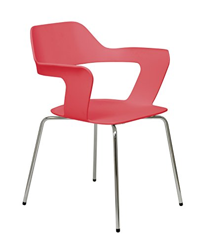 KFI Seating 2500CH Julep Series Stack Chair with Flex Poly Shell, Red ()