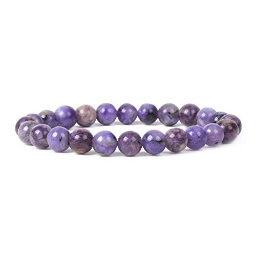 Beads 25 Round 8mm (Natural Russian Charoite Gemstone 8mm Round Beads Stretch Bracelet 7