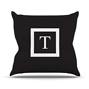 "Kess InHouse KESS Original ""Monogram Solid Black Letter T"" Outdoor Throw Pillow, 20 by 20-Inch"