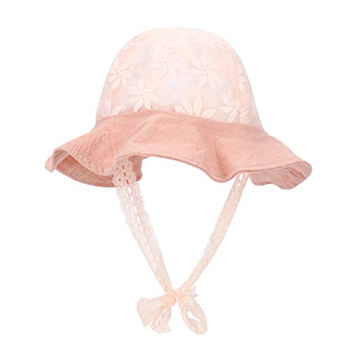 MK MATT KEELY Baby Girls Sun Hat Spring and Summer Infant Breathable Lace Bucket Hat Shade Pink ()