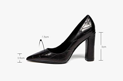 ZXCB Femmes Printemps Réel en Cuir Noir à Talons Hauts Femmes Bout Pointu Sexy Robe de Soirée Black9cm 1zgT6j8FN