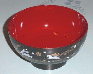 Plastic Rice Bowls - JapanBargain Japanese Plastic Rice Soup Bowl, Bunny Black