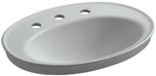 95 Ice Grey Vessels - KOHLER K-2075-8-95 Serif Self-Rimming Bathroom Sink, Ice Grey
