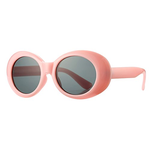 Retro Vintage Oval Bold Frame Sunglasses for Women Men COASION Round Lens Clout Goggles (Pink, - Shape Of Oval Face Glasses For Best