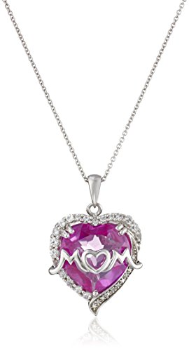 "Sterling Silver Created Pink and Created White Sapphire and Diamond Raised ""Mom"" Heart Pendant Necklace, 18"""