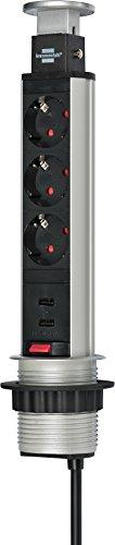Brennenstuhl Tower Power Tisch Steckdosenleiste 3-fach mit 2-fach USB-Charger, 1396200013