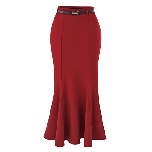 YITL Women's Elegant High Waist Fishtail Mermaid Bodycon Pencil Long Skirt With Belt Red XXXL