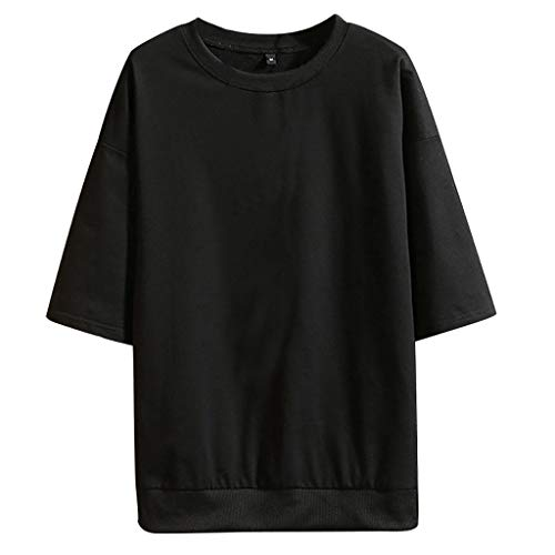 Jamestown Oxford - Stoota Men Summer Fashion Pure Color O-Neck Half Sleeves T-Shirts Top Blouse 5XL Black