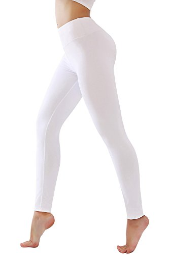 - DIAMONDKIT Women's Inner Pocket Non See-Through Leggings ... (1037 White, XL)