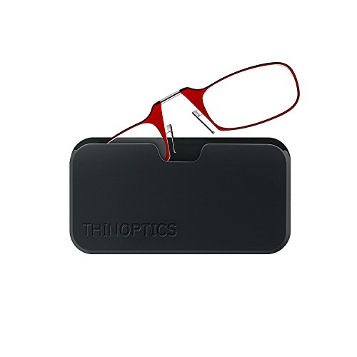 ThinOptics Reading Glasses + Black Universal Pod Case | Classic Collection, Red Frames, 2.00 Strength