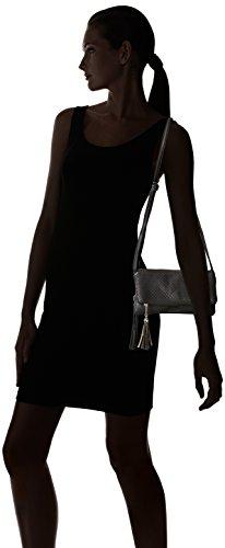 Para mujer funda de piel sintética Triple BMC compartimento borla de Fashion con cremallera bolso de mano de negro - Midnight Black