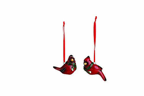 Winter Cardinal Bird Pair 2.5 Inch Glazed Ceramic Christmas Ornaments Set of 2 Nativity Ceramic
