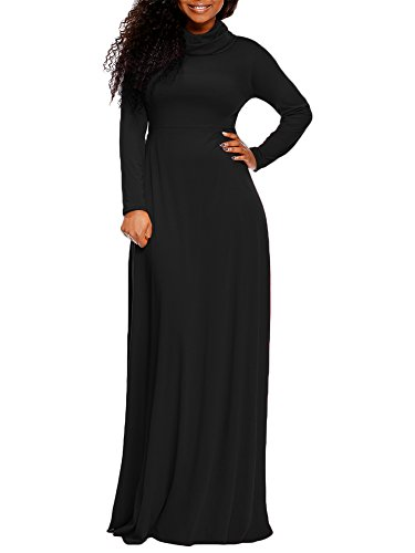 onlypuff Maxi Party Dress Cowl Neck Women Casual Long Sleeve Swing Fall Winter Dress Black Large
