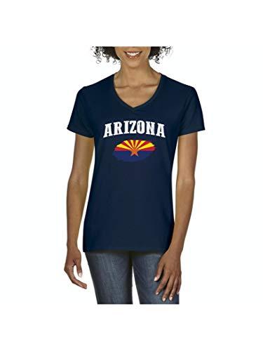 Arizona State Flag Women's V-Neck T-Shirt Tee (MNB) Navy Blue]()