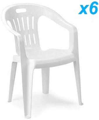 Tomaino Piona Lot de 10 chaises en plastique résiné empilables, idéales pour  maison, jardin, bar, camping, blanc