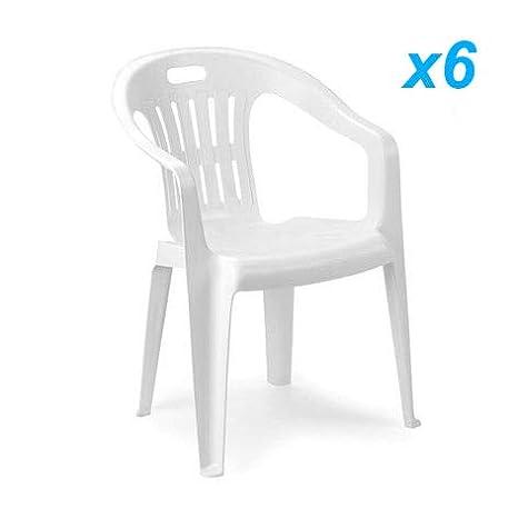 Sedie Plastica Bar.Tomaino Sedia Piona Offerta Set 6pz Bianco In Plastica Resinata Impilabili Ideale Per Casa Giardino Bar Campeggio
