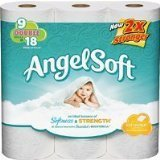 Angel Soft Toilet Tissue 9 Double Rolls = 18 Regular Rolls 2-ply Sheets (1 Pack)