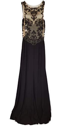 Sean Collection Long Dress with Sequin Details, Black/Nude, ()