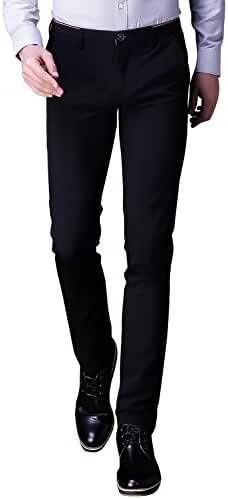 INFLATION Mens Wrinkle-free Casual Pants Slim-Tapered Stretch Dress Pants,Flat Front Suit Pants