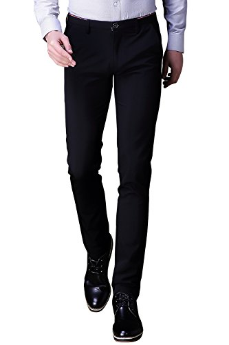 INFLATION Mens Wrinkle-Free Casual Pants Slim-Tapered Stretch Dress Pants,Flat Front Suit Pants,Black Pants (Mens Linen Black Pants)