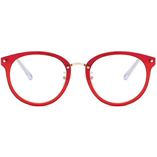 (SOJOS Round Anti Blue Light Blocking Glasses Women Computer Eyeglasses Ashley with Red Frame/Anti-Blue Light Lens)