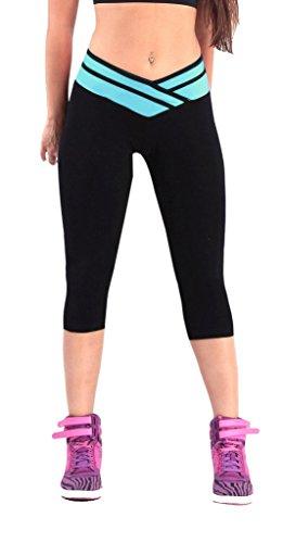 iLoveSIA(TM) Women's Tights Capri Legging Black+Lake Blue US Size M