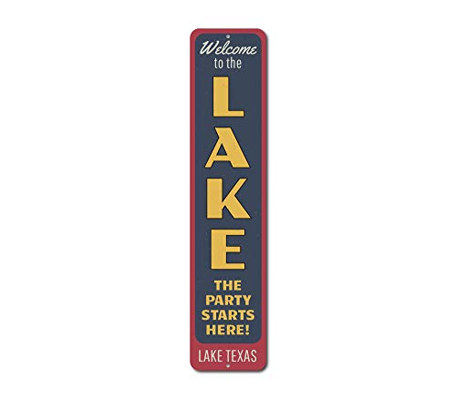 The Lizton Sign Shop The Party Starts Here Vertical Sign, Personalized Welcome Lake Location Name Gift, Metal Custom Cabin Decor - Quality Aluminum - 6