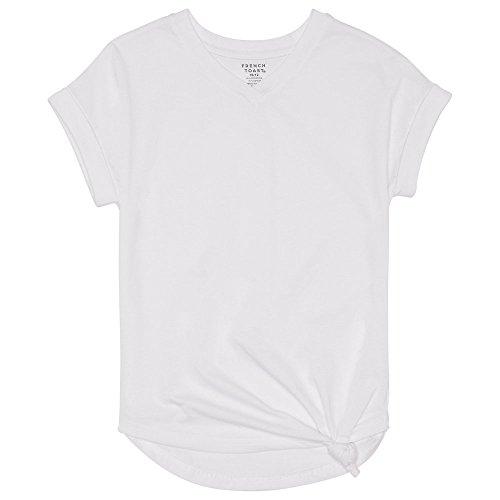 French Toast Little Girls' Short Sleeve V-Neck Side Knot Tee, White, 6 ()
