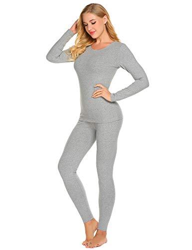 Ekouaer Thermal Underwear Women's Cotton Long Johns Set Scoop Neck Top & Bottom Pajama Winter Base Layering Set, Grey, Large by Ekouaer (Image #2)