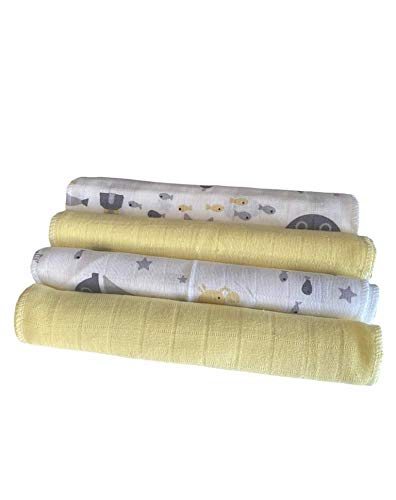 Beyra - Muslin Baby Burp Cloths 4-Pack Organic Cotton Washcloths 20 by 10 Inches Cloths 4 Layers Super Soft (Yellow)