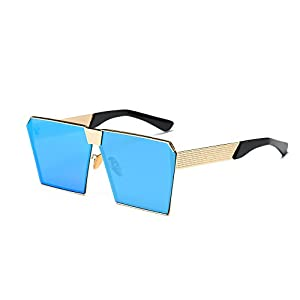 AOME Oversized Flat Top Sunglasses Square Metal Frame Mirrored Sunglasses (Gold&Blue, 2.0)