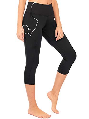DEAR SPARKLE High Waist Yoga Capri with 3 Pockets Workout Tummy Control Running Capris Plus (S2) (Black, 3X-Large)