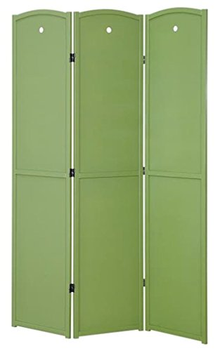 Wood Three Panel Screen (Legacy Decor 3-Panel Solid Wood Screen Room Divider, Childrens Room Divider, Green Color)