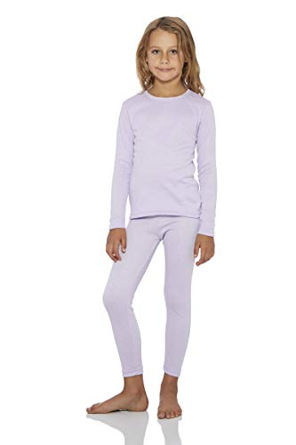 Rocky Girls Fleece Lined Thermal 2PC Underwear Set Top and Bottom (XS, Lavender)